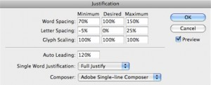 InDesign justification